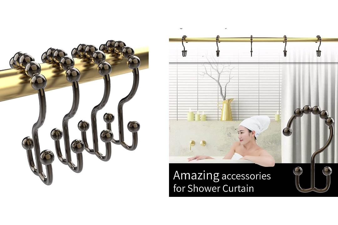 Premium Quality Rustproof Stainless Steel Double Glide Shower Curtain Hooks