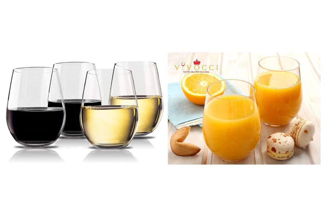 Vivocci Unbreakable Stemless Wine Glasses