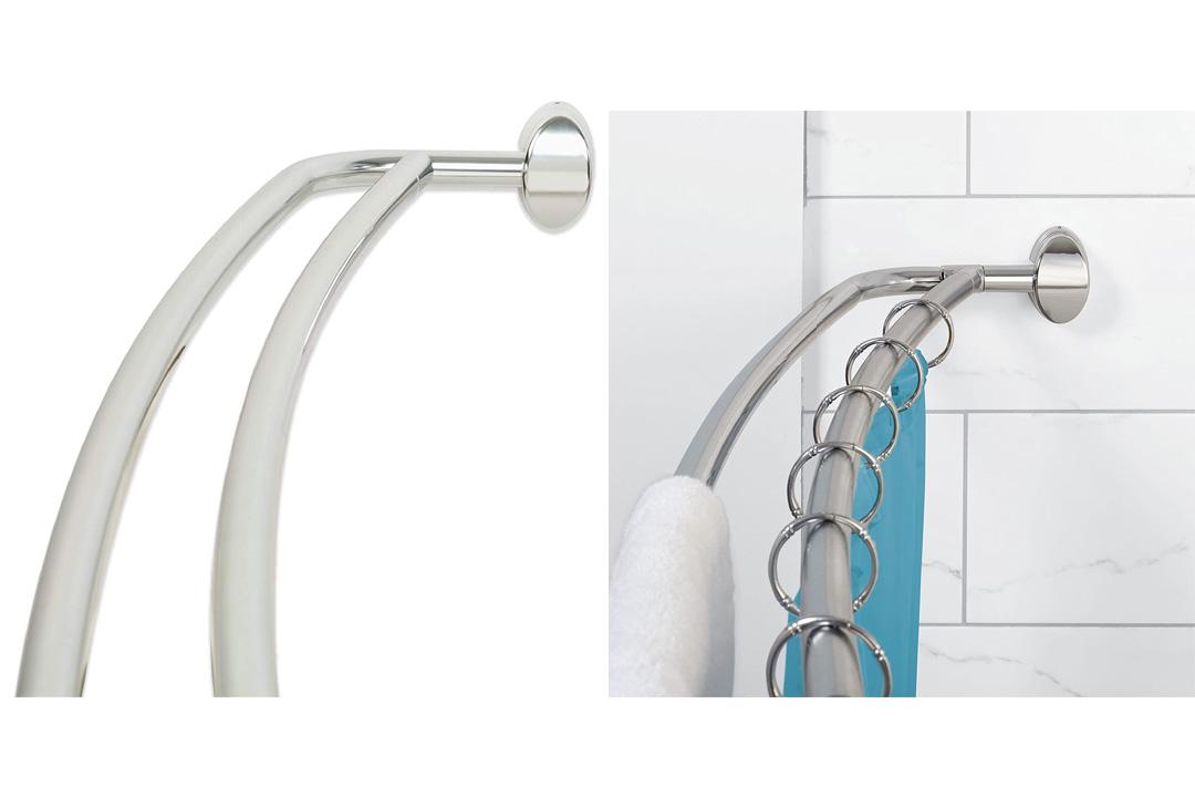 Zenna Home E35604SS, NeverRust Aluminum Double Curved Shower Curtain Rod