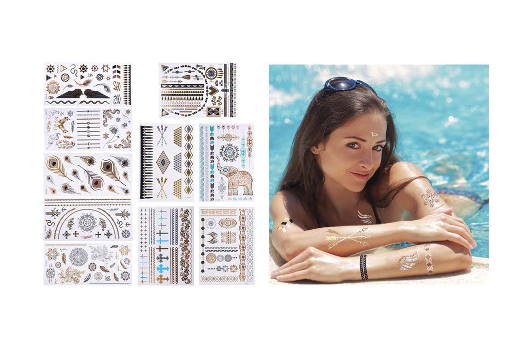 10 Sheets Metallic Temporary Tattoos