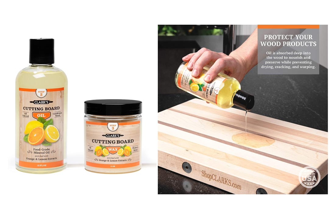 CLARK'S Cutting Board Oil & Wax (2 Bottle Set)