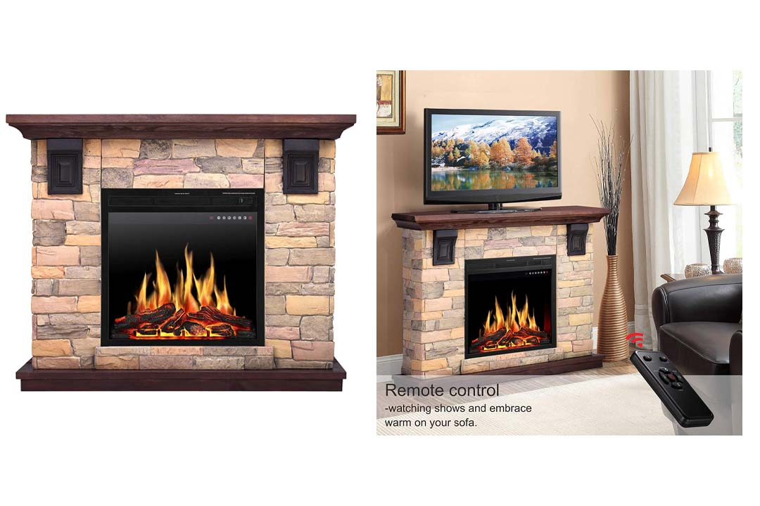 JAMFLY Electric Fireplace Wall Mantel in Faux Stone