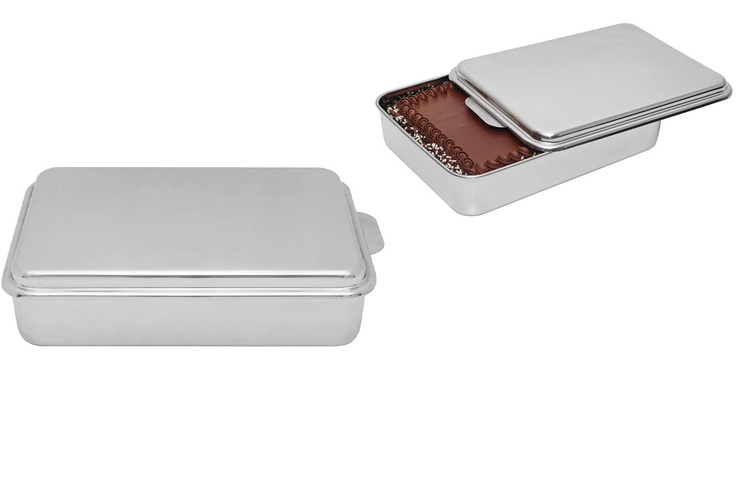 Lindy's Stainless Steel Covered Cake Pan, Silver