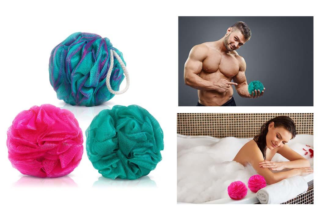 Loofah Bath Sponge Set of 3 different colors