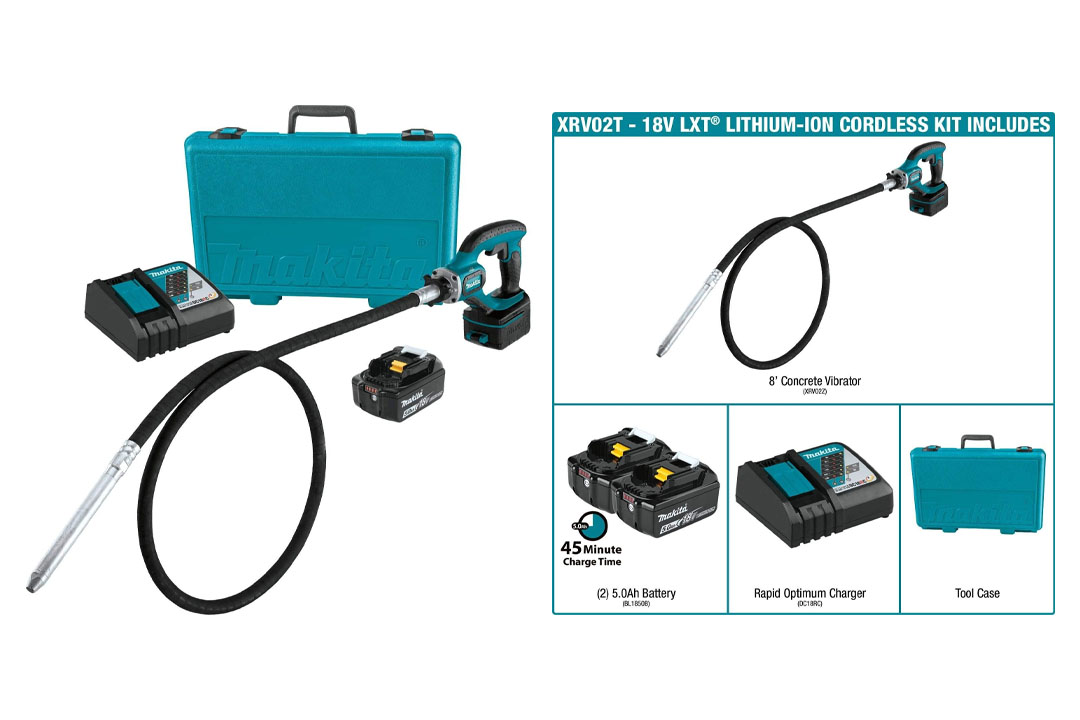 Makita XRV02T 5.0 Ah 18V LXT Lithium-Ion Cordless Concrete Vibrator Kit
