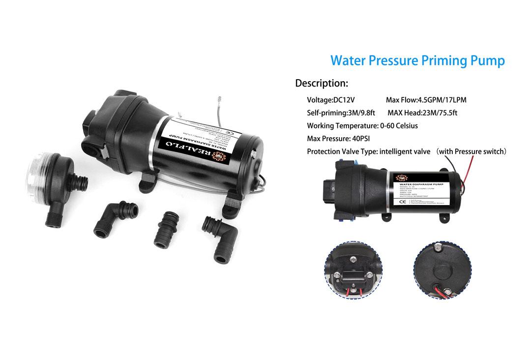 REALFLO 12V Water Pressure Diaphragm Pump 4.5GPM 17L/min