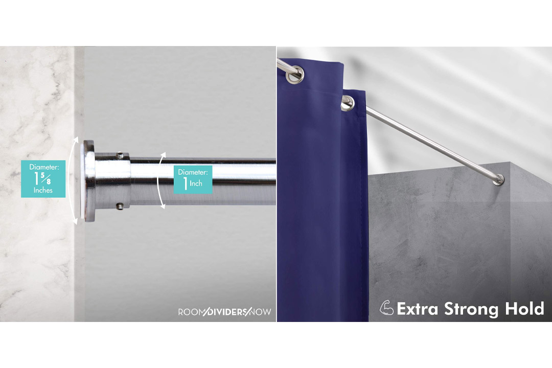 RoomDividersNow Silver Tension Curtain Rod