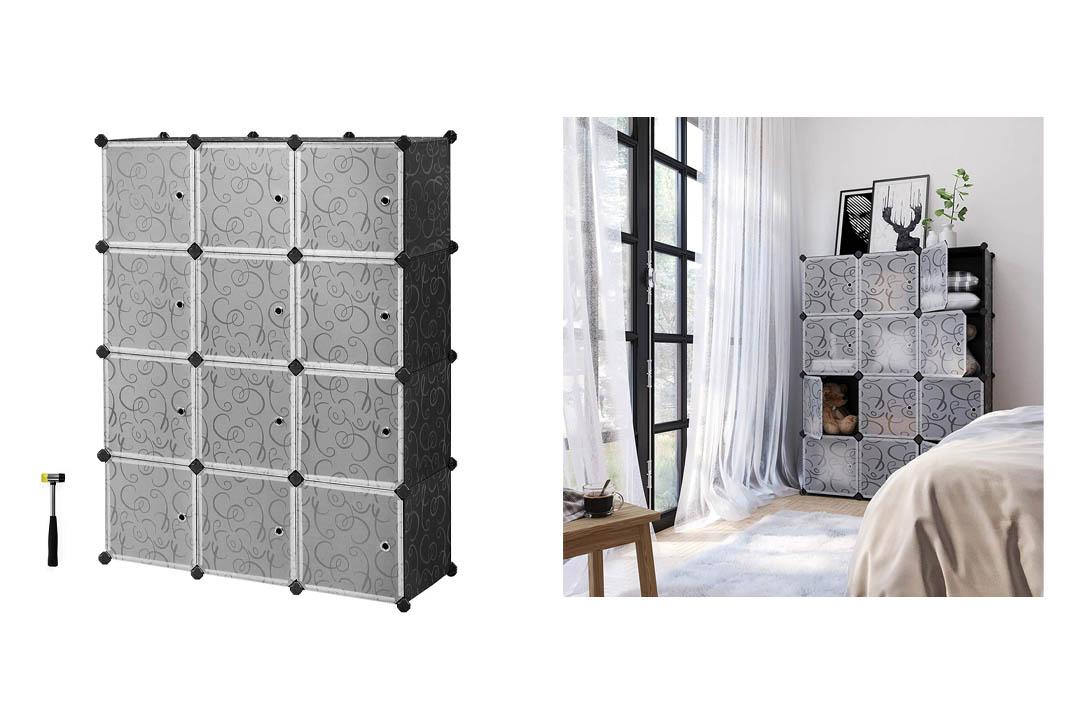SONGMICS Update Plastic Wardrobe DIY Portable Closet Organizer with Doors ULPC34H