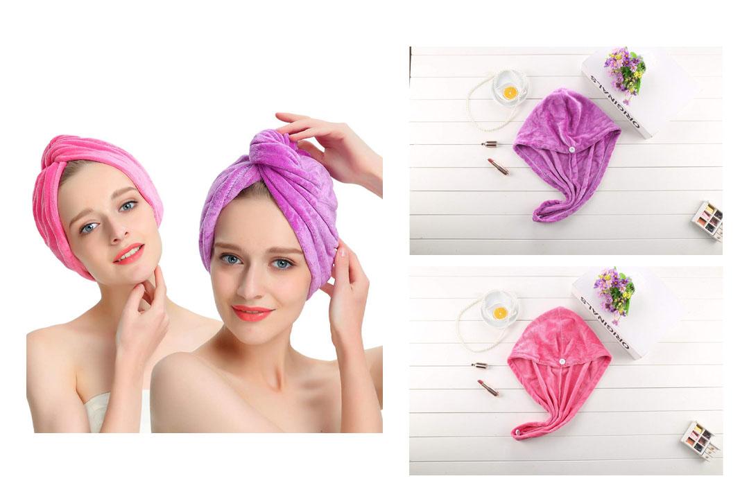 AuroTrends Microfiber Hair Towel Turban Large Wrap Turban Cap