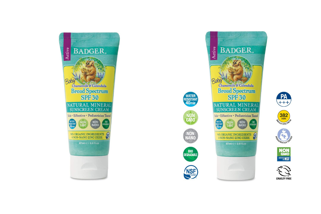 Badger Baby Sunscreen Cream - SPF 30 - All Natural & Certified Organic