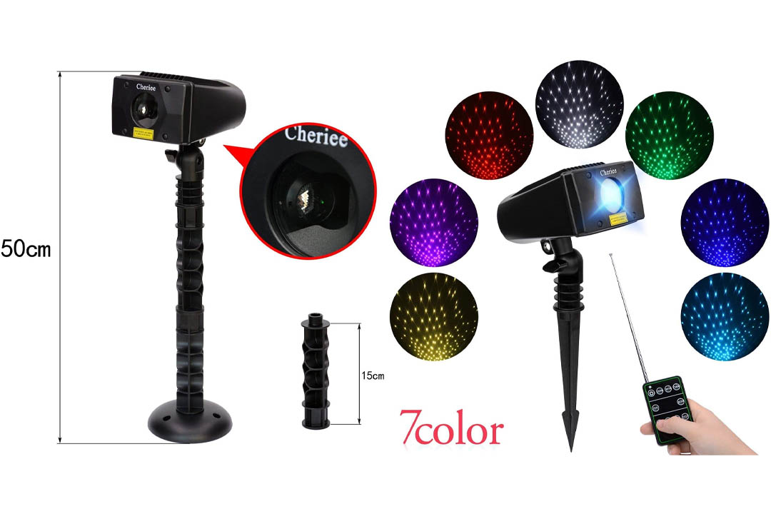 Cheriee Laser Christmas Lights 7 Colors Outdoor White Star Projector