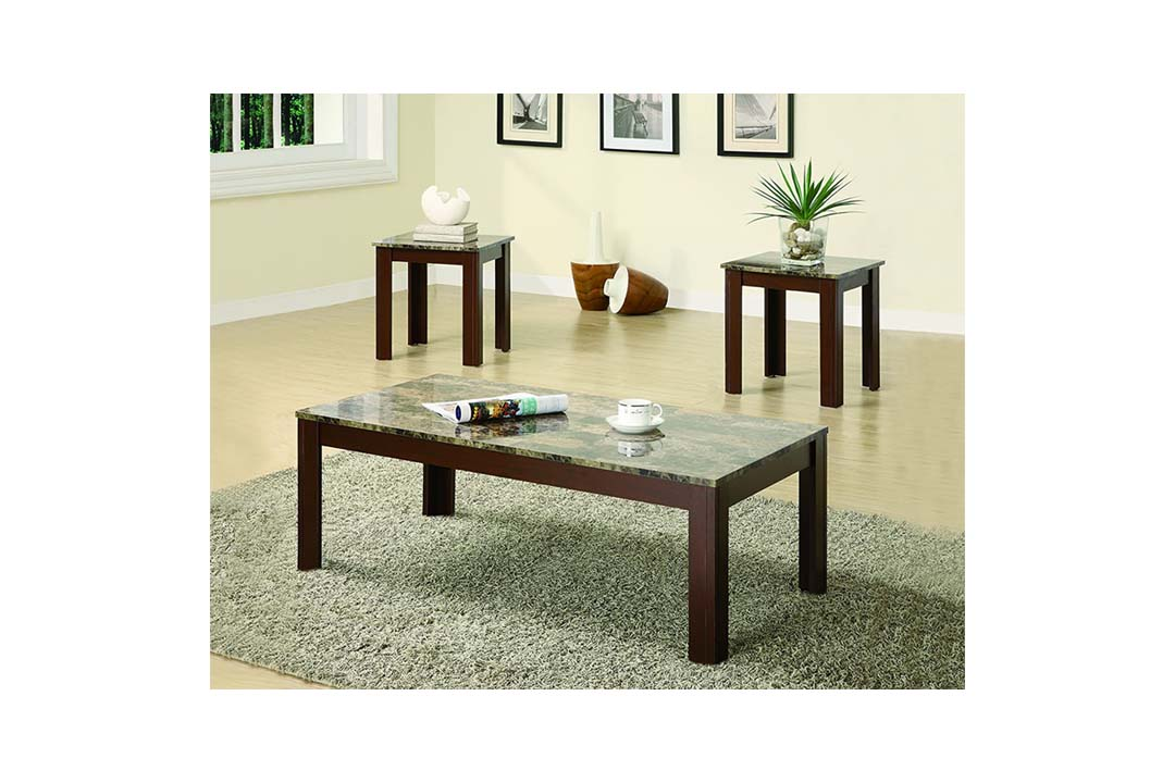 Coaster Home Furnishings 3 Piece Faux Marble Top Coffee Table
