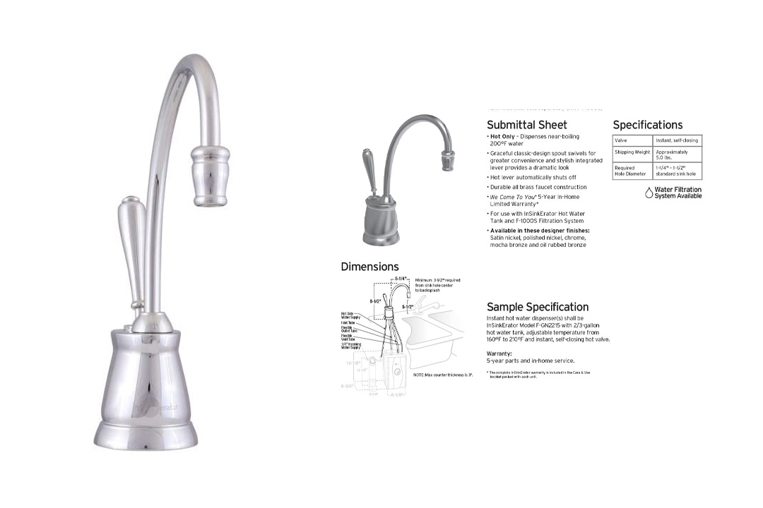 InSinkErator F-GN2215ORB Indulge Tuscan Hot Water Dispenser Faucet