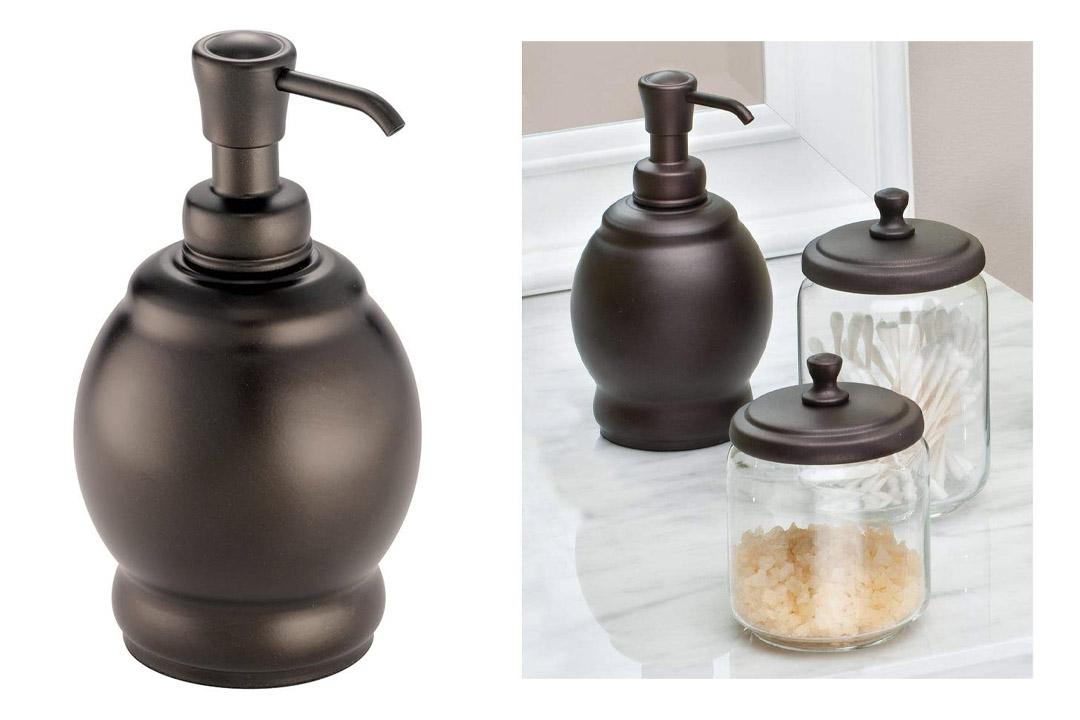 InterDesign York Metal Short Soap and Lotion Dispenser Pump