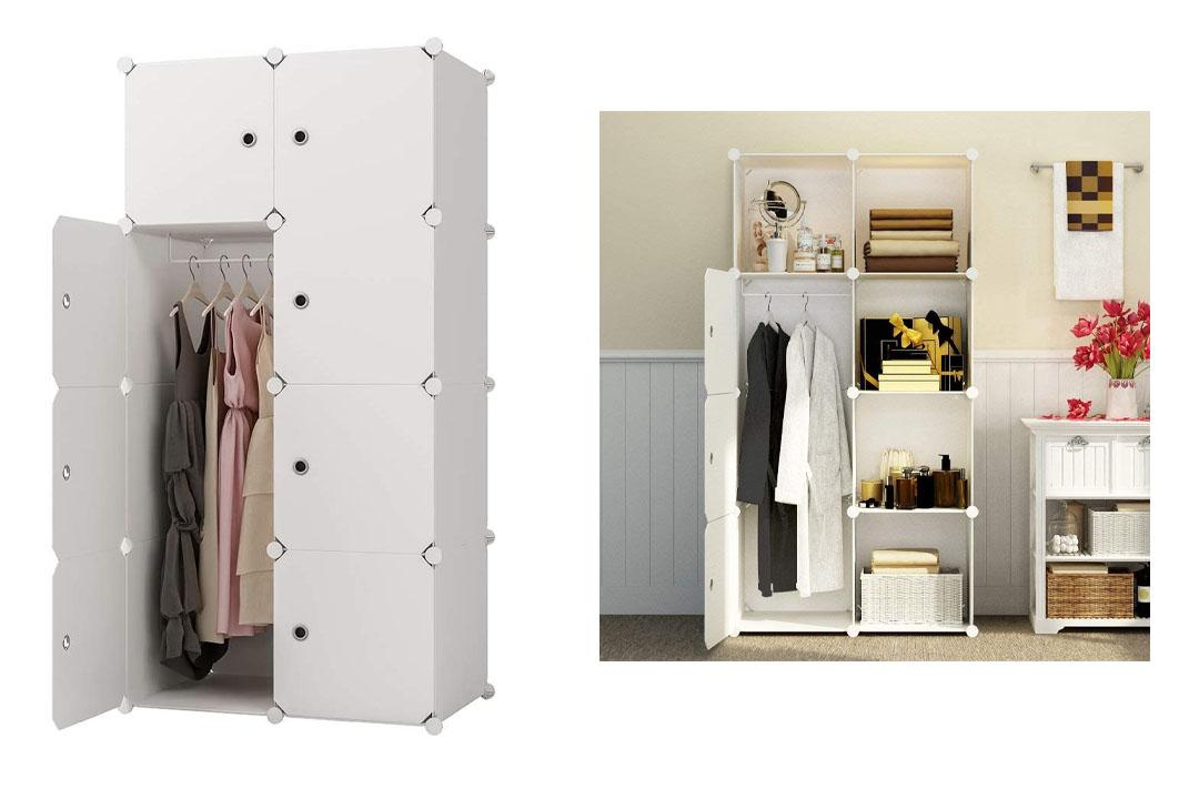 KOUSI Portable Clothes Closet Wardrobe Bedroom Armoire Storage Organizer
