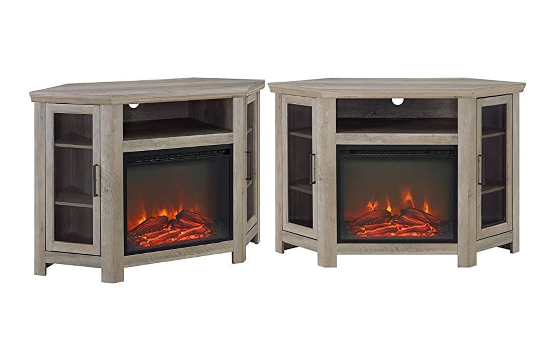 Pemberly Row Wood Corner Fireplace Media TV Stand Console in Grey Wash