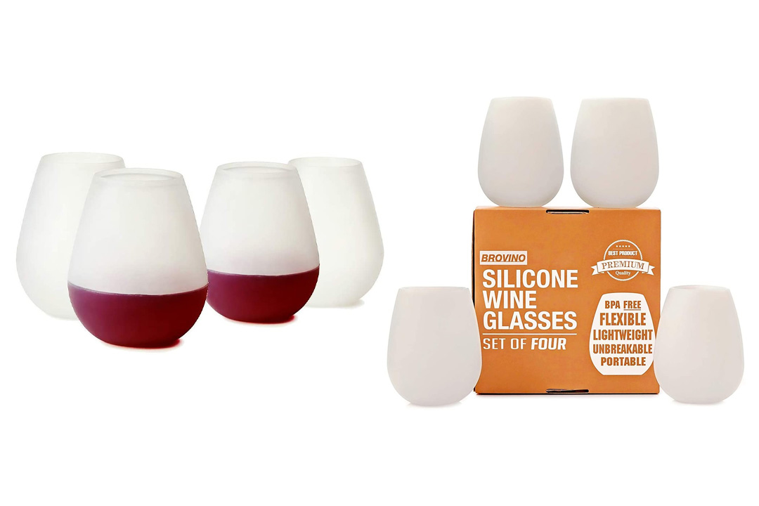 Silicone Wine Glasses - Set of 4 - Unbreakable Outdoor Rubber Wine Cups