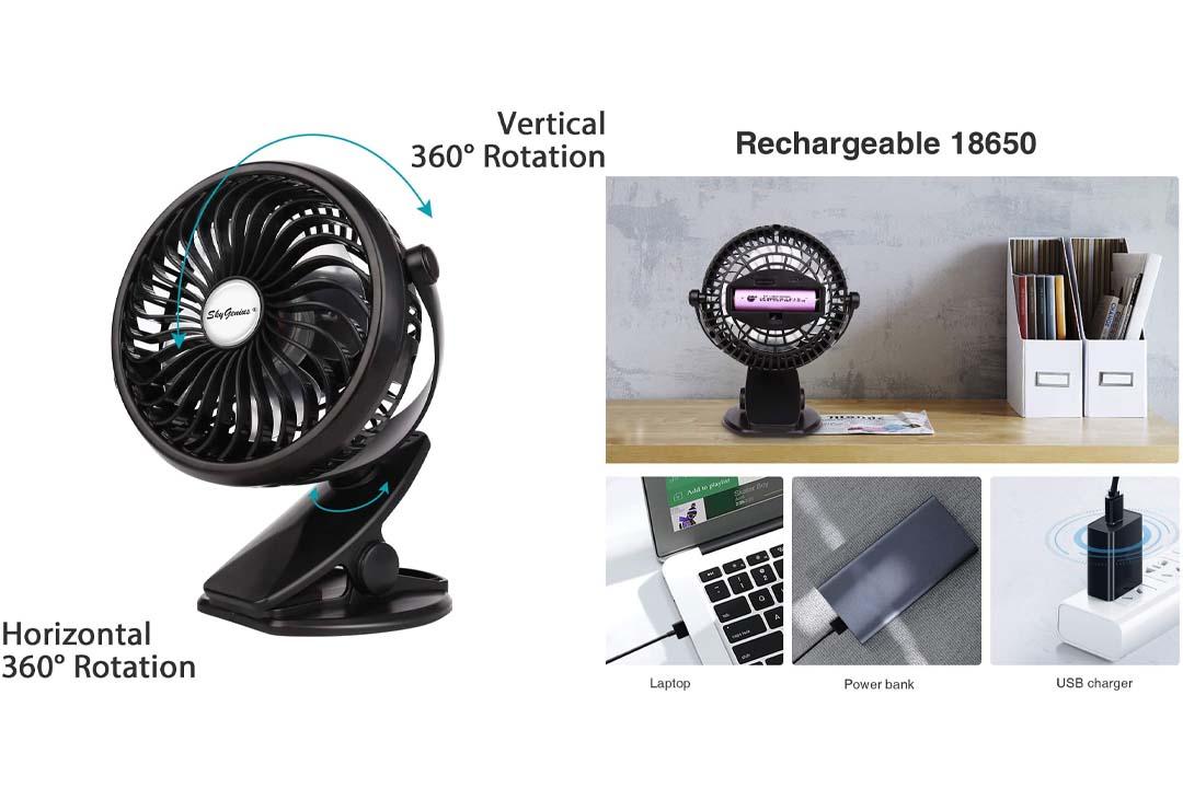 SkyGenius Battery Operated Clip on Mini Desk Fan, Black