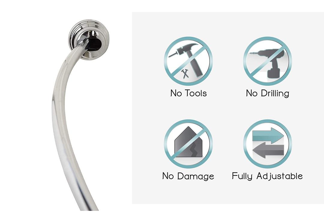 Zenna Home 35633SSP, NeverRust Aluminum Tension Curved Shower Curtain Rod