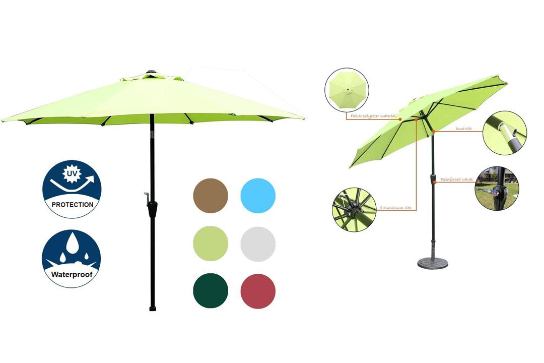 Blissun Patio Umbrella Aluminum Manual Push Button Tilt and Crank Garden Parasol