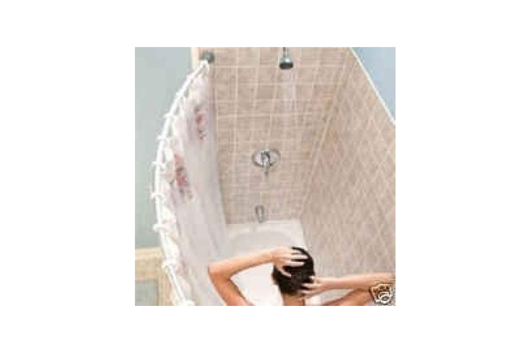 Curved shower rod - Aluminum, Adjustable 36.5 inches-66 inches