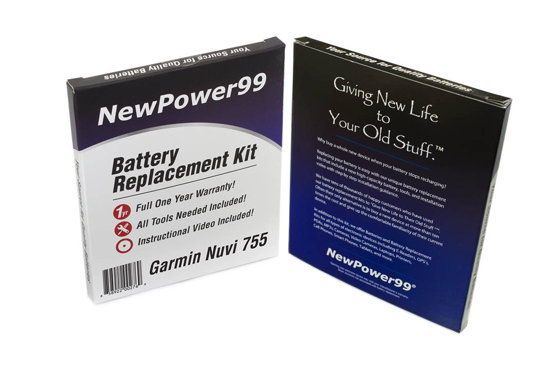 Garmin Nuvi 755 Battery Replacement Kit with Extended Life Battery