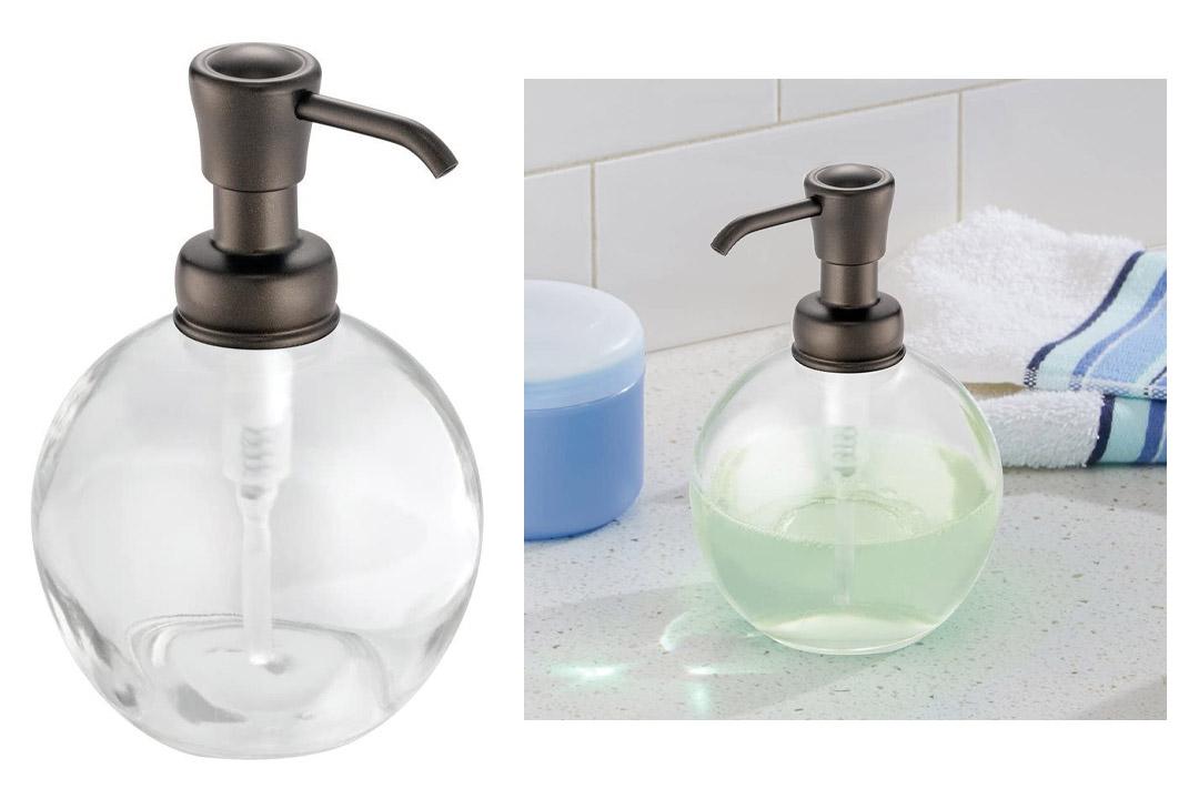 InterDesign York Glass Soap & Lotion Dispenser Pump