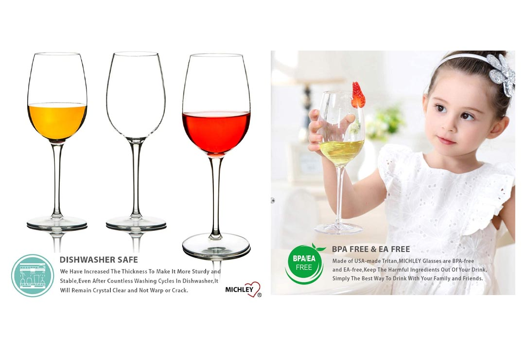 MICHLEY Unbreakable Red Wine Glasses