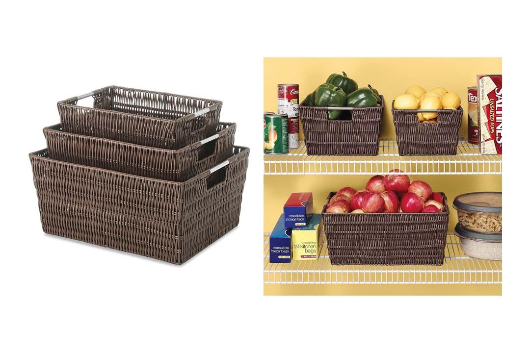 Whitmor Rattique Storage Baskets Java
