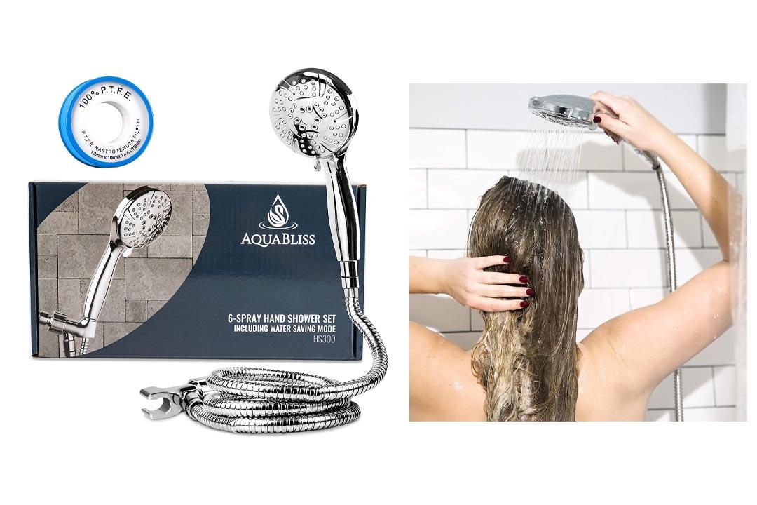 AquaBliss High Pressure 6-setting Handheld Shower Head Set