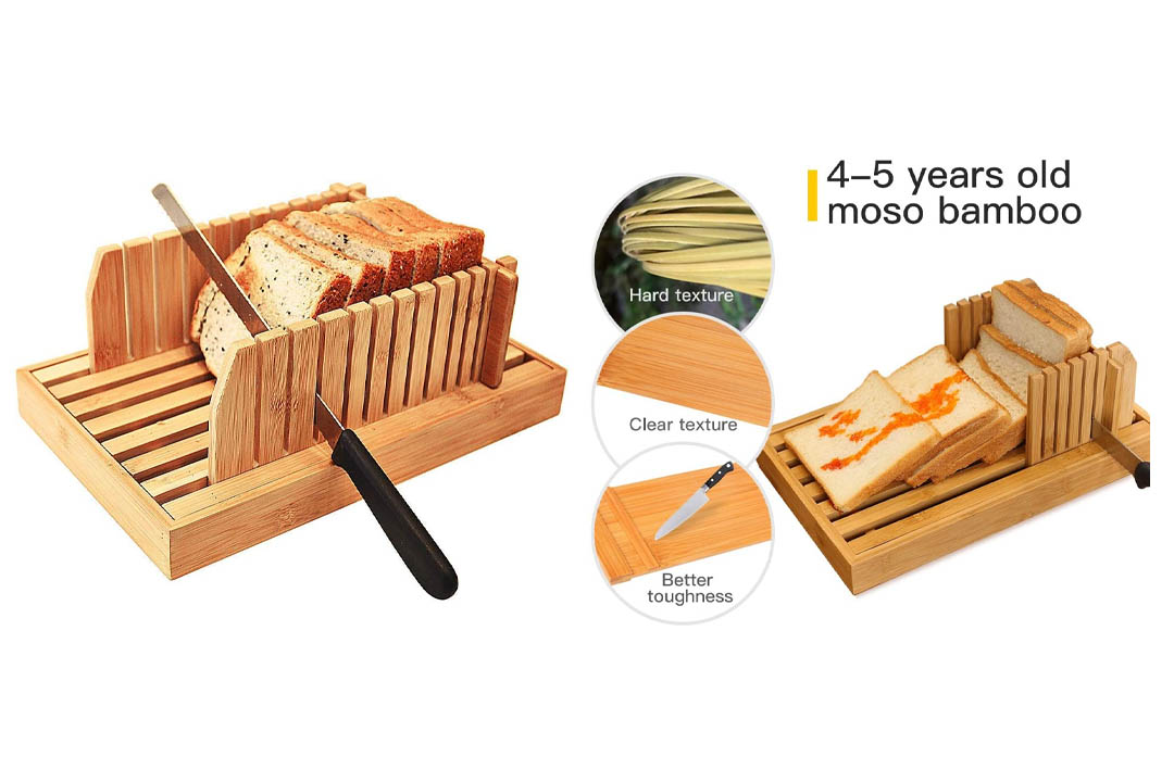 Bamboo Manual Adjustable Foldable Bread Machine Bread Slicer