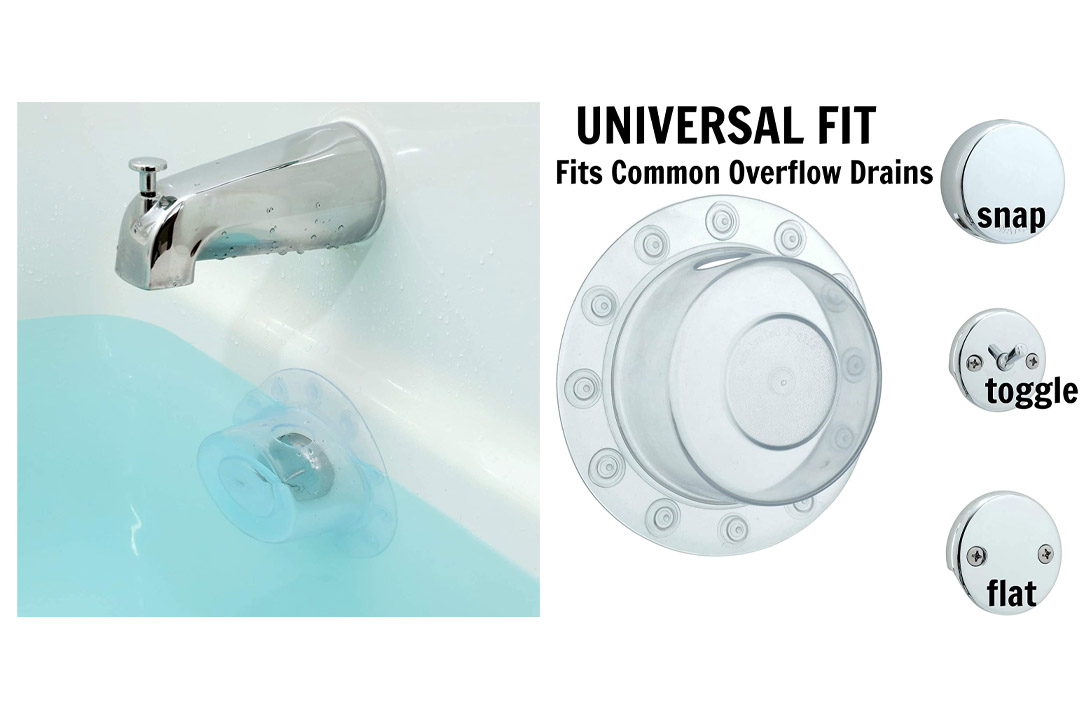Bottomless Bath Overflow Drain Cover By SlipX Solutions