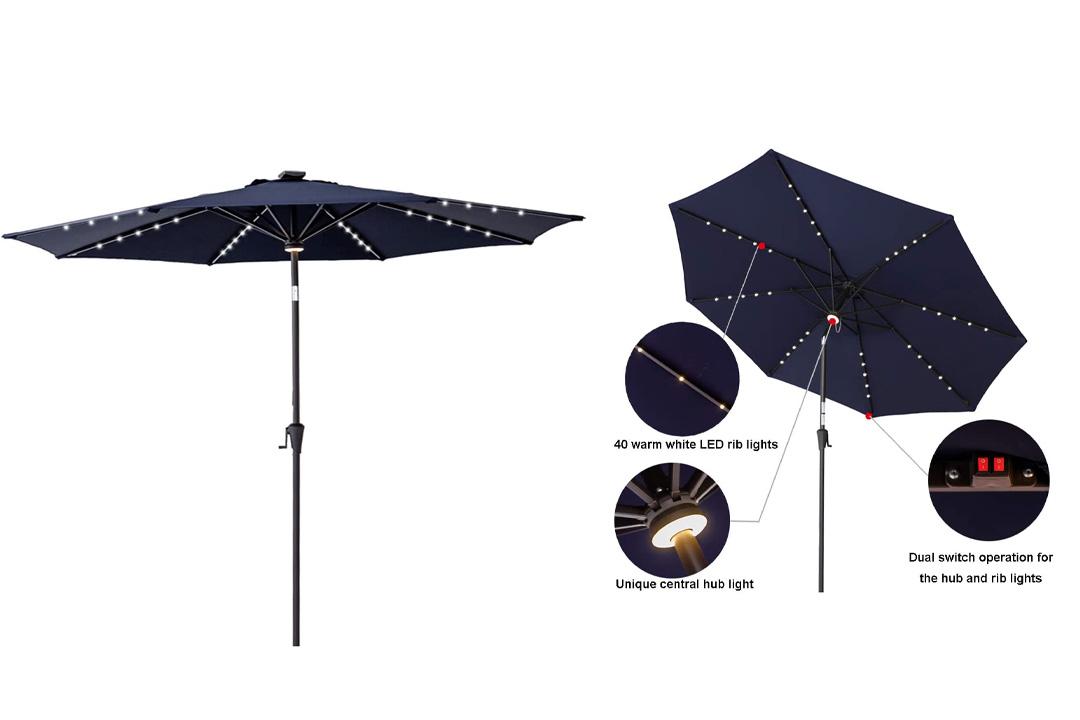 C-Hopetree 11 ft Solar Power LED Light Outdoor Parasol Patio Market Umbrella
