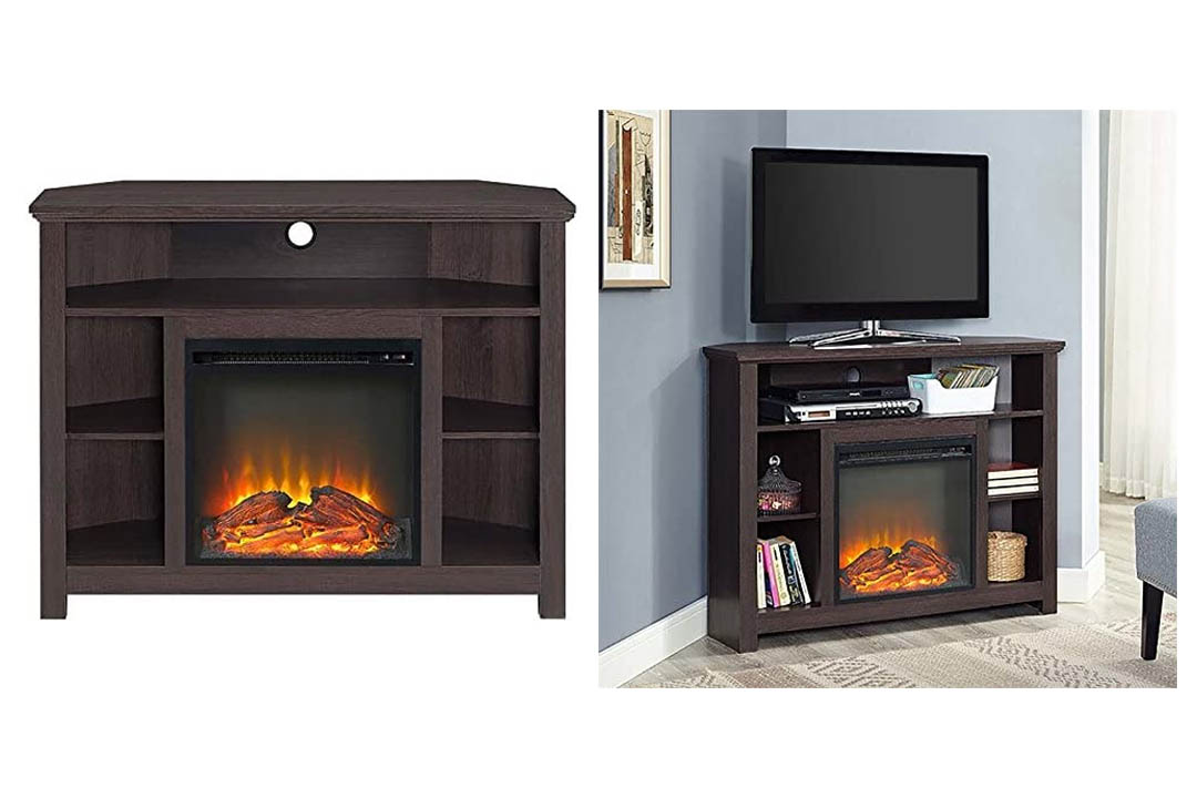 Pemberly Row Wood Corner Fireplace TV Stand in Espresso Finish