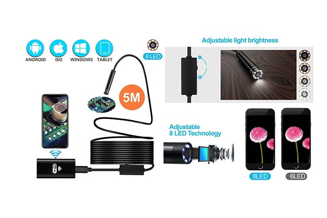 Power Wireless Waterproof Semi-rigid USB Endoscope 8 LED Inspection Camera