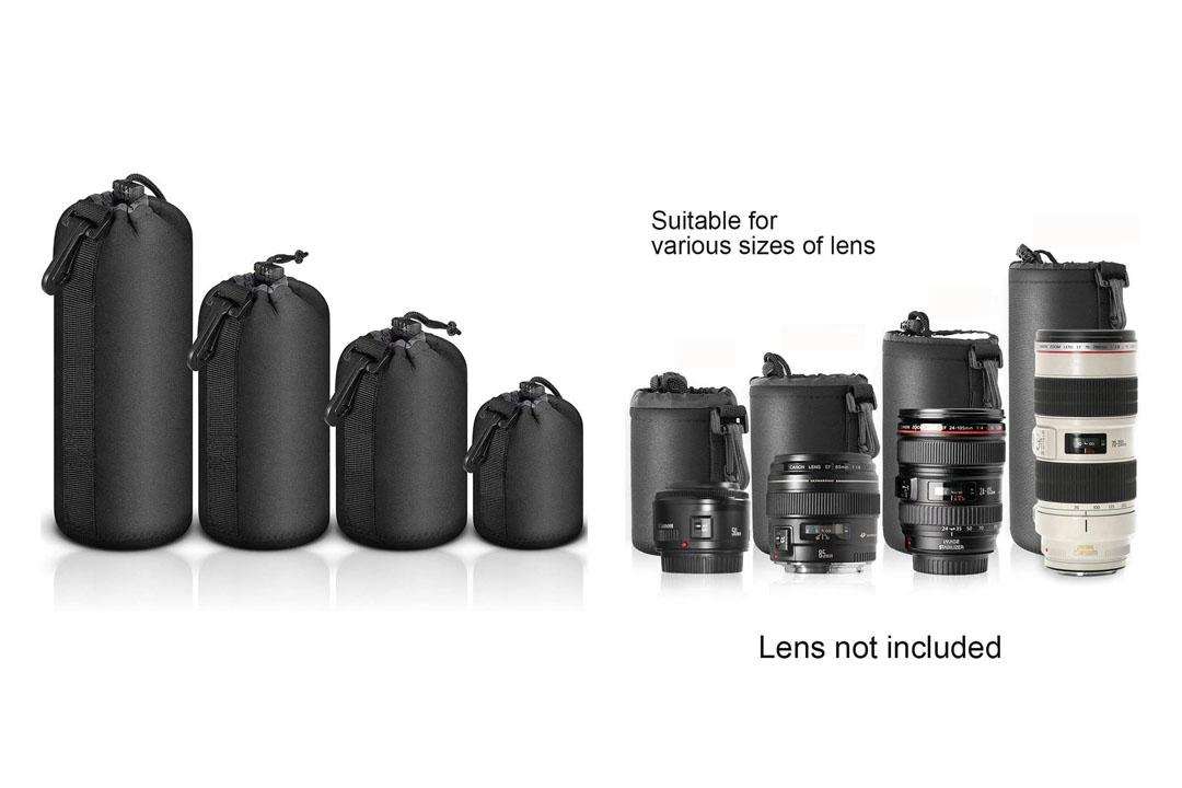 Selens 4 pcs Black Protective DSLR camera Drawstring Soft Neoprene Lens Pouch Bag