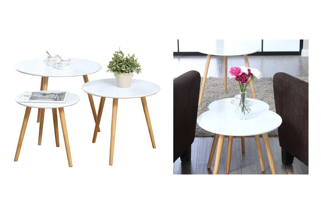 Homury Coffee Table Round Set of 3 End Side Table