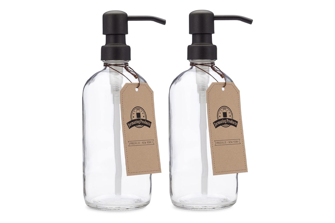 Jarmazing Products Clear Glass Pint Jar Soap and Lotion Dispenser