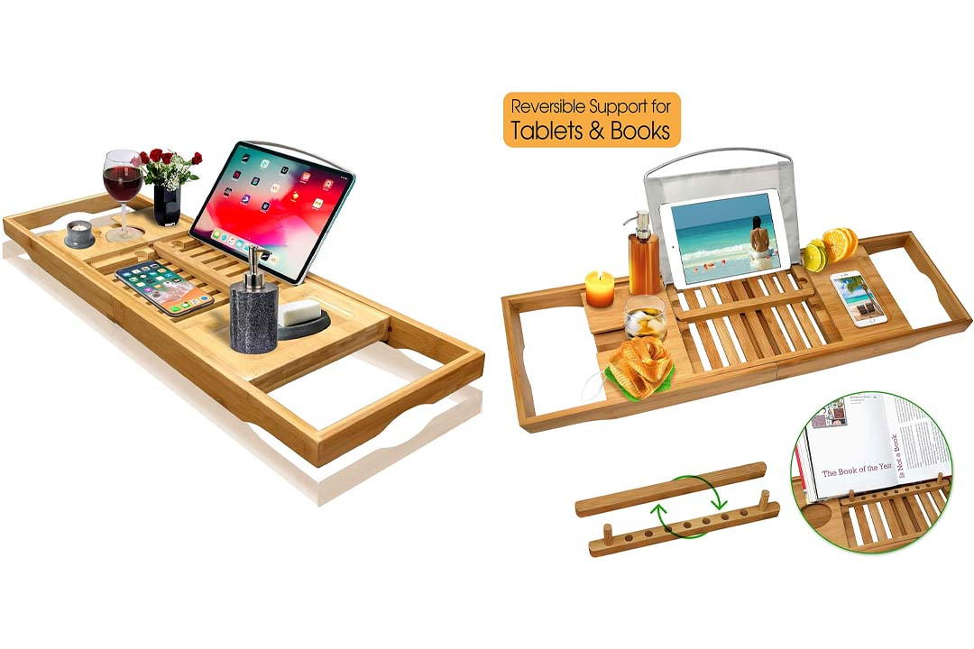 Nature Gear Wood Bamboo Luxury Bath Caddy for Your Book