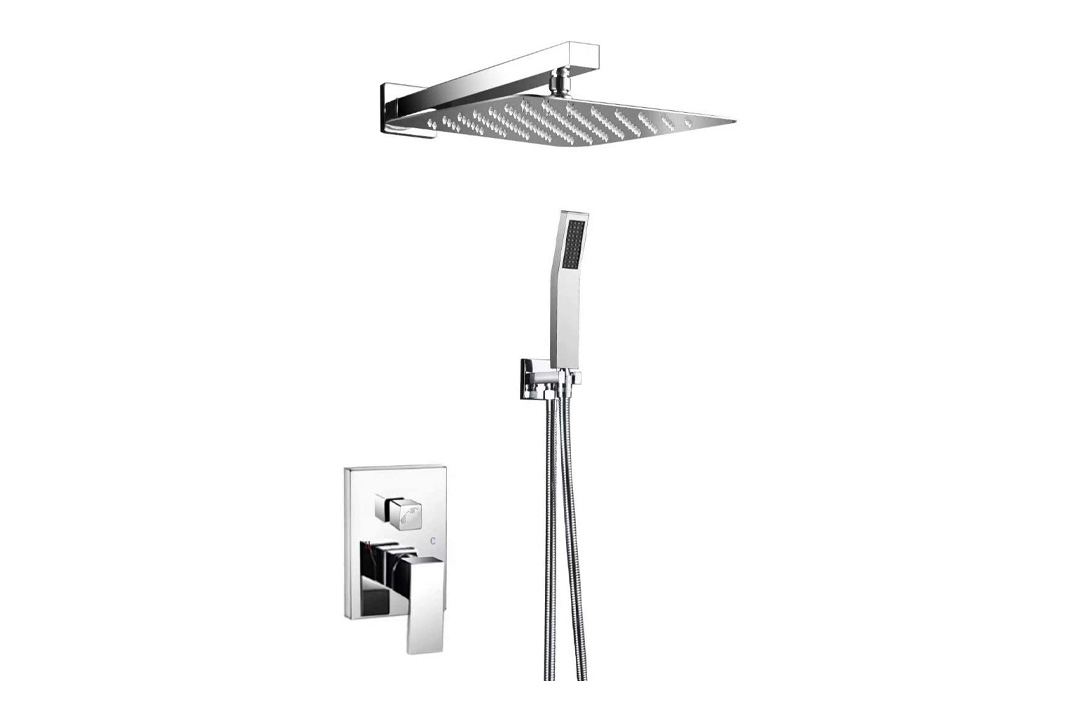SR SUN RISE 10 Inch Ultra Thin Solid Square Stainless Steel Rain Shower Head