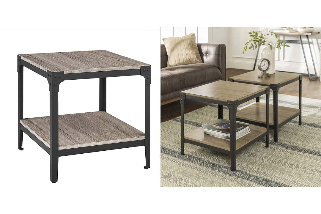 WE Furniture Angle Iron Wood End Tables in Driftwood