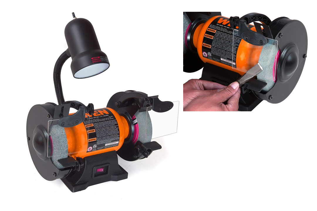 WEN's 4276 Bench Grinder with Flexible Work Light